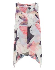 Roman Originals floral asymmetric double layer top