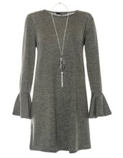 Quiz light knit frill necklace tunic dress