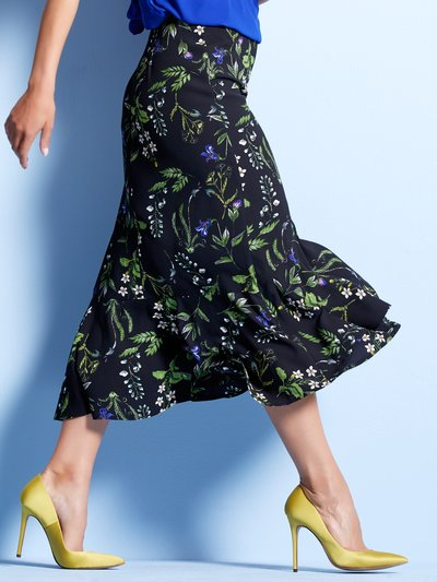 Floral print frill layer skirt