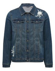 Floral embroidered denim jacket