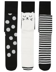Cat spot and stripe tights three pack