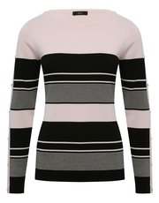 Button trim stripe jumper