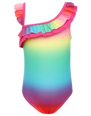 Rainbow ruffle strap swimsuit