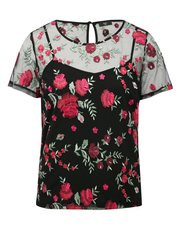 Petite mesh floral embroidered top