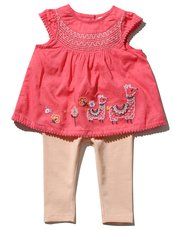 Embroidered llama smock top and leggings set