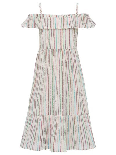 Minoti metallic stripe frill dress