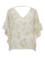 Gold foil palm print batwing top