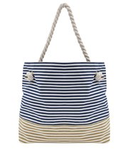 Stripe print beach bag