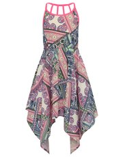 Patchwork print hanky hem maxi dress
