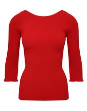 Petite ribbed frill sleeve jumper