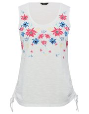 Floral embroidered tie side top