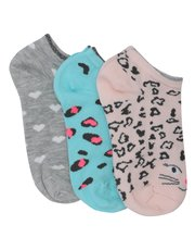 Leopard heart socks three pack