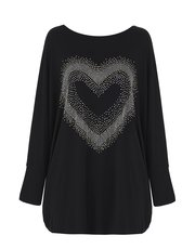 Quiz diamante heart batwing top