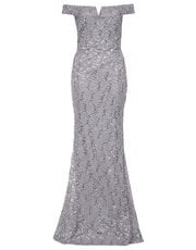 Quiz sequin bardot fishtail dress