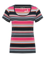 Stripe print scoop neck t-shirt