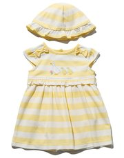 Stripe frill dress and hat set