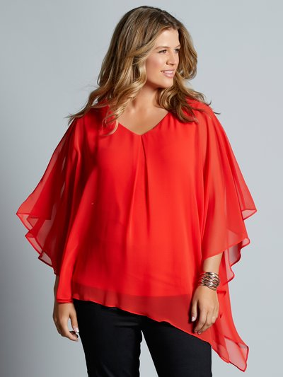 Plus asymmetric chiffon layer top