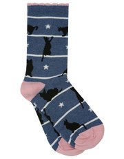 Cat and star pattern socks