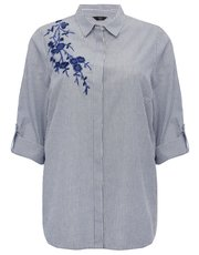 Plus floral embroidered stripe shirt
