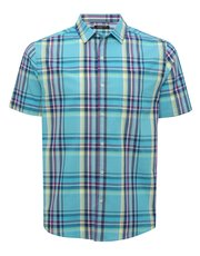 Wide check cotton short sleeve shirt
