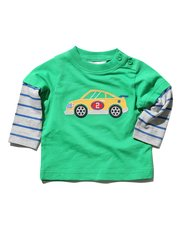 Car applique stripe sleeve t-shirt