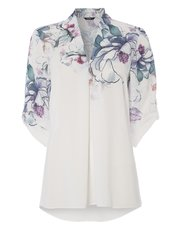 Roman Originals floral print pleated top
