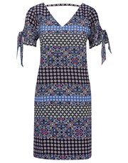 Petite tie sleeve border print shift dress