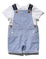 Stripe dungarees and t-shirt set