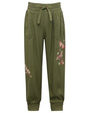 Embroidered butterfly utility trouser