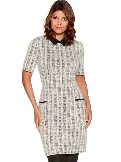 Contrast collar check shift dress