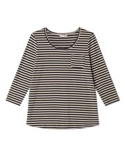 Dash stripe jersey top with trim