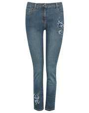 Petite floral embroidered jeans