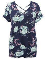 Plus floral print lattice front top