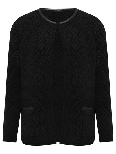 Diamond knit PU trim cardigan
