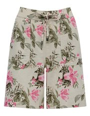 Tropical floral print linen blend shorts