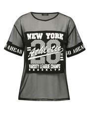 New York print mesh t-shirt