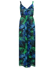 Blue palm print maxi dress