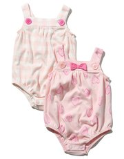 Heart and check print romper two pack