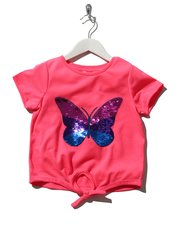 Two way sequin butterfly tie front top