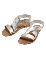 Metallic crossover sandals