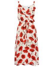 Poppy print frill dress