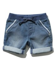 Denim look jersey shorts