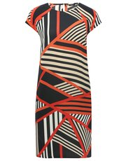 Block stripe print shift dress