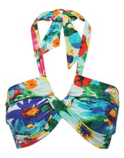 Bright floral print halter neck twist bikini top