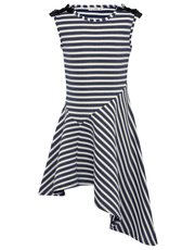 Stripe asymmetric hem dress