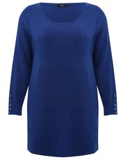 Plus button trim tunic jumper