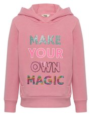 Sequin slogan hooded sweater