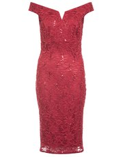 Quiz lace sequin bardot midi dress