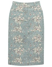 Floral print denim skirt