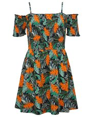 Teens' tropical shirred cold shoulder dress